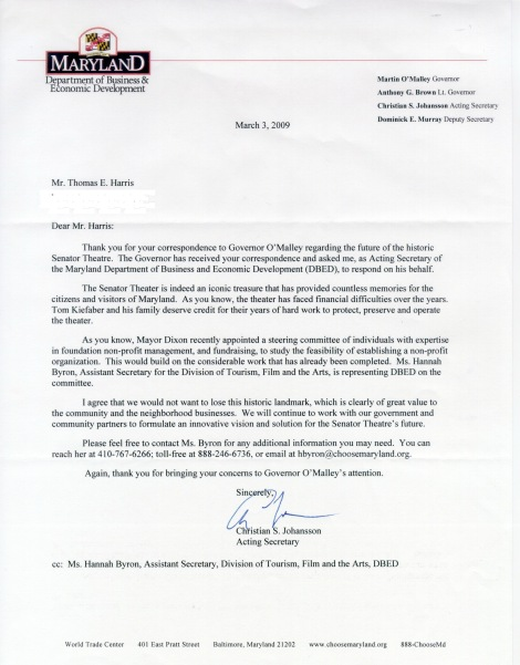 Maryland Dept. of Business & Economic Development response to my letter to Governor Martin O'Malley