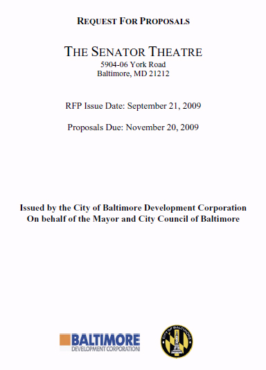 Senator Theatre RFP cover sheet